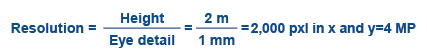 resolution=height/eye detail = 2m/1mm = 2,000 pxl in x and y= 4mp