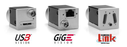 GigE Vision, USB3 Vision and CameraLink cameras