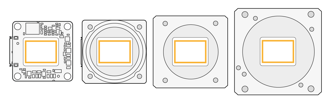Same sensor size in differently sized housings
