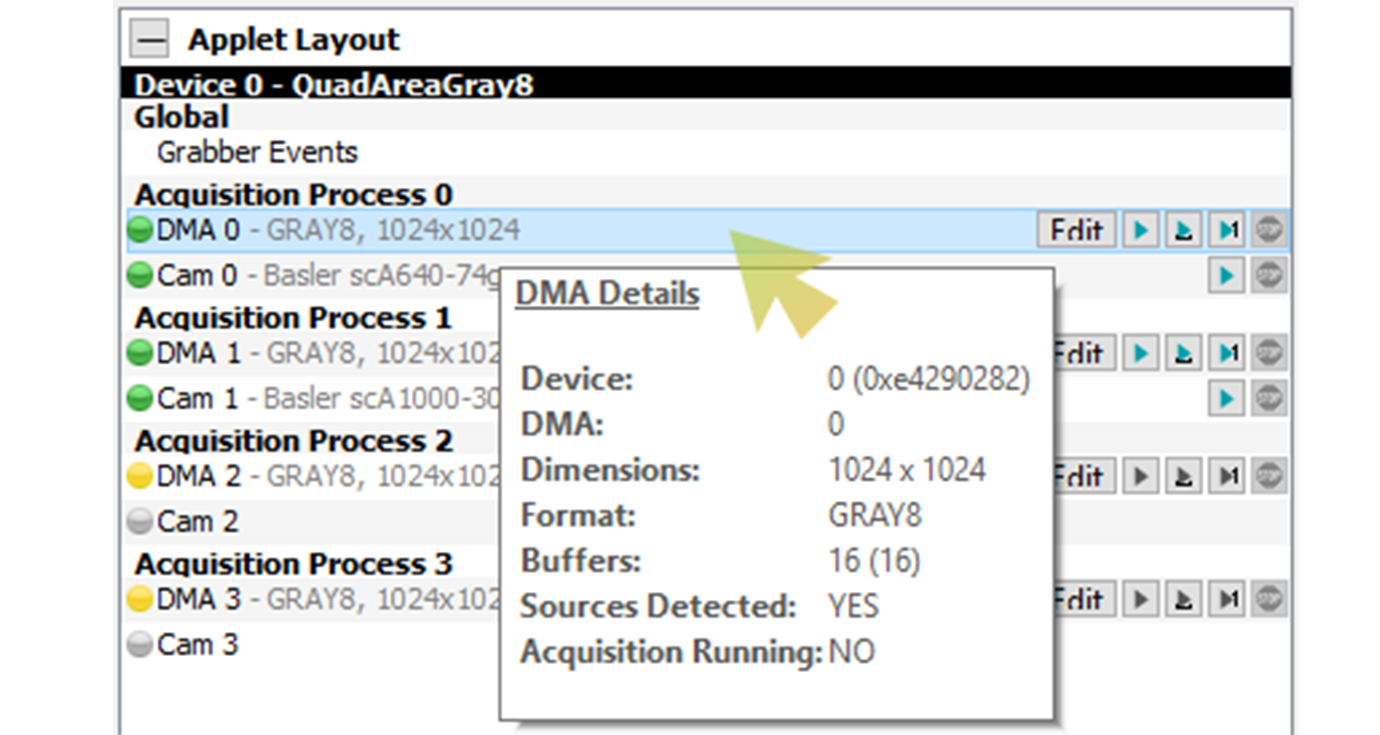 DMA details provide information about the most important applet performance characteristics and settings